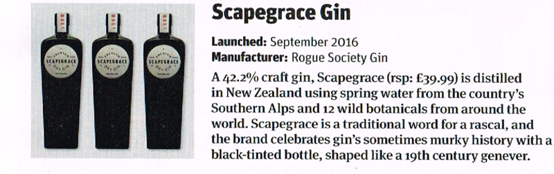 Scapegrace Gin in the Grocer Focus on Spirits 2016